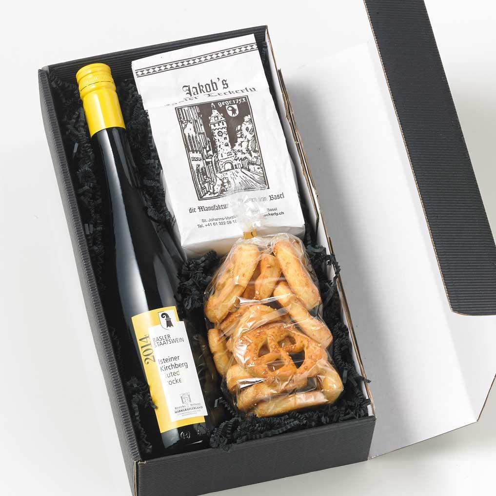Geschenk Firmengeschek Basel Wein Läckerli Sunneredli