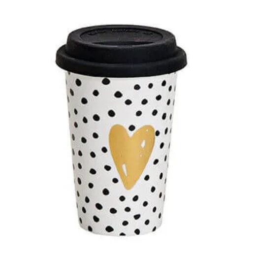 Kaffeebecher To-Go Herz gepunktet aus Porzellan