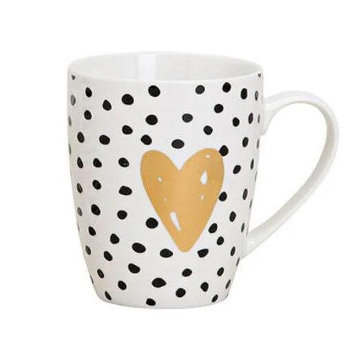 Tasse Porzellan Herz gepunktet Valentinstaggeschenk